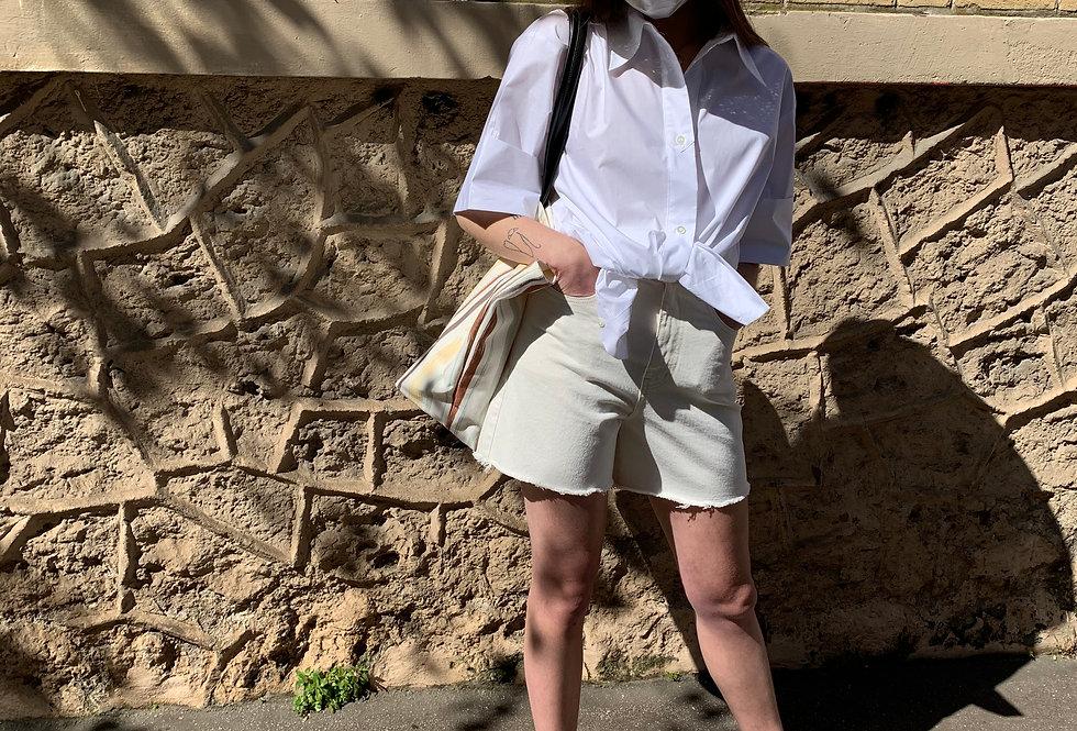 Cream Denim Shorts