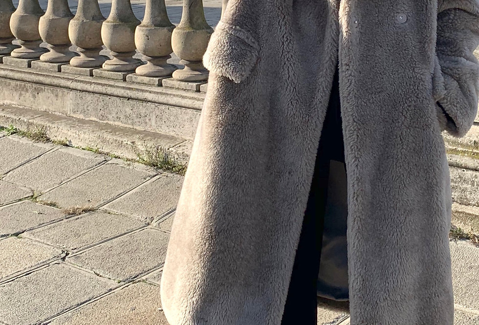 Wool Blend Grey Teddy Coat