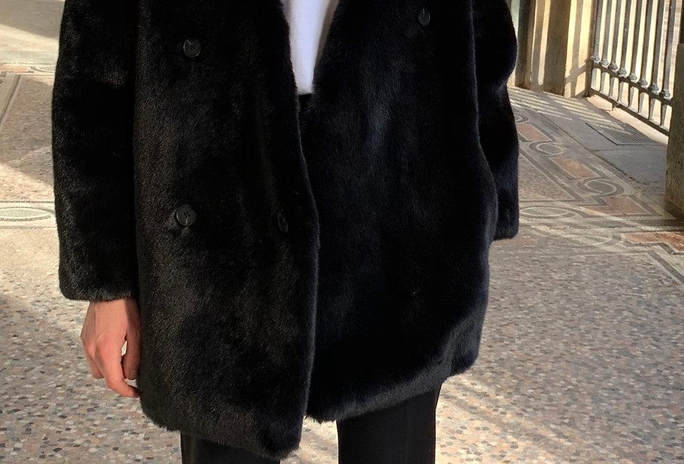 Black Faux Fur Collarless Jacket