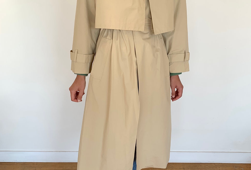 Elasticated-waist Trench Coat