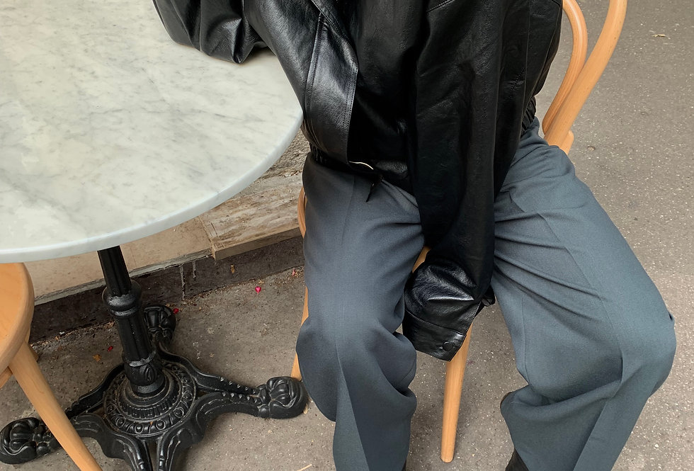 Faux Leather Blouson Jacket