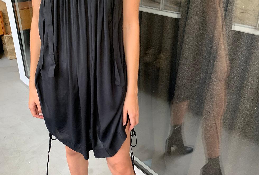Black Dress with Drawstrings