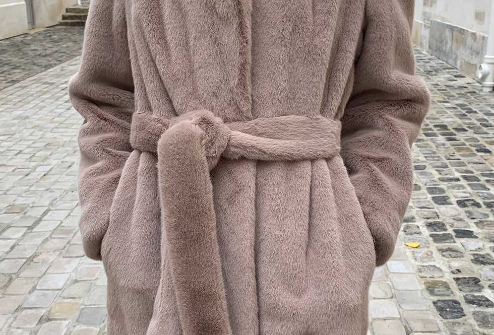 Belted faux fur long coat (2colors)