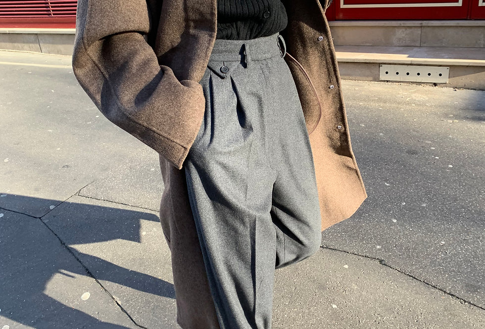 Pleated Wool Blend Trousers (2colors)