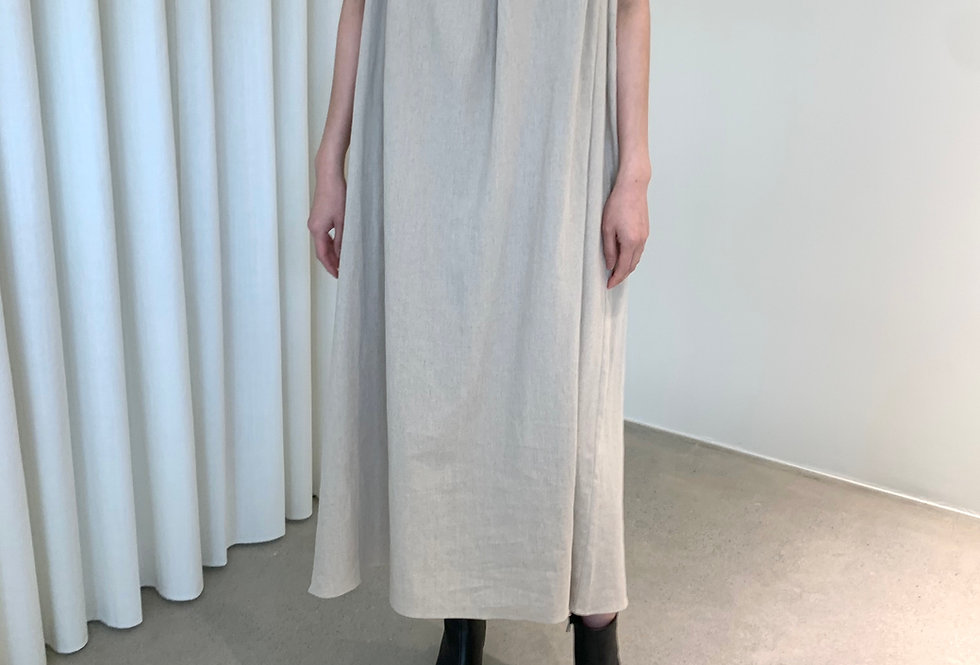 Gathered Linen Dress