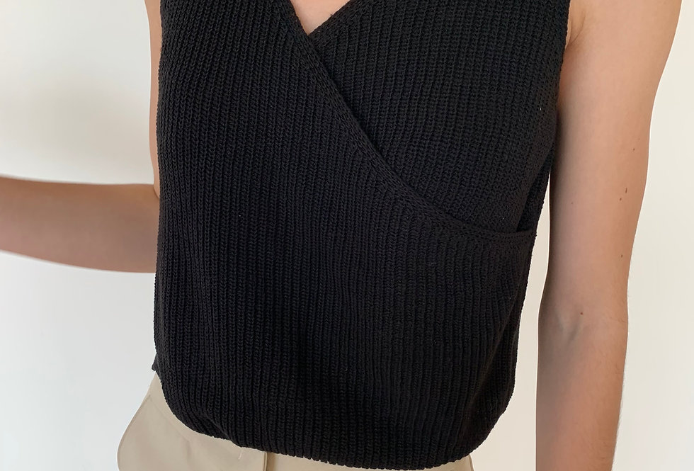 Knitted Sleeveless Wrap Top