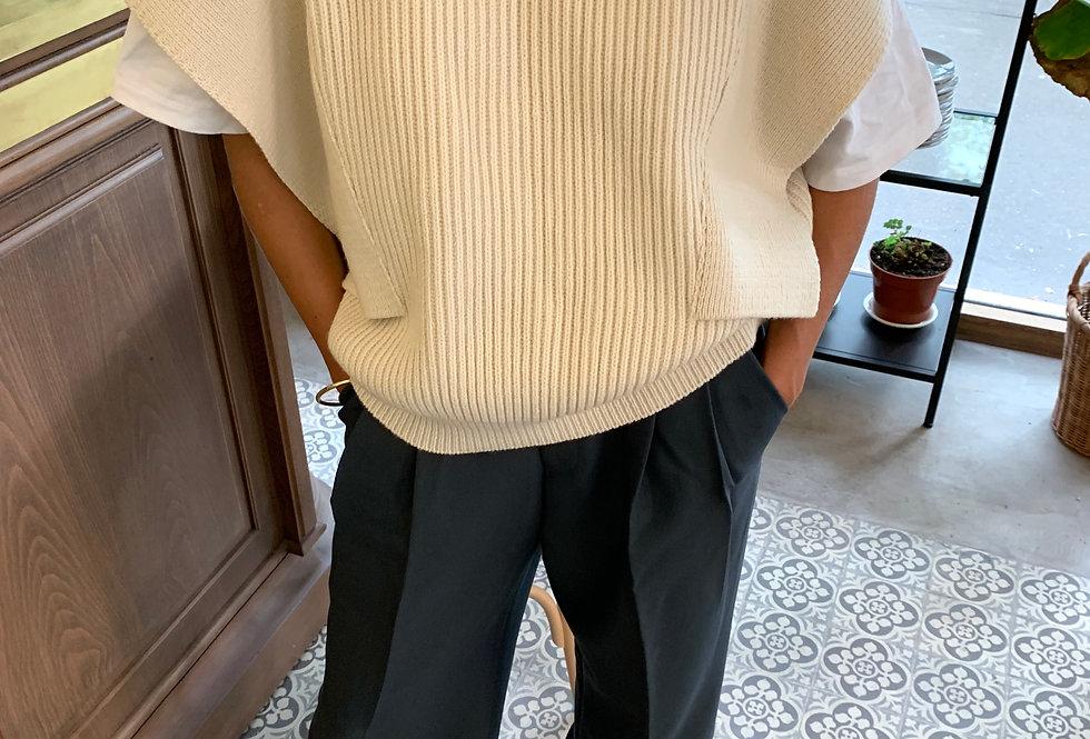 Wide Shoulder Knitted Vest (2colors)