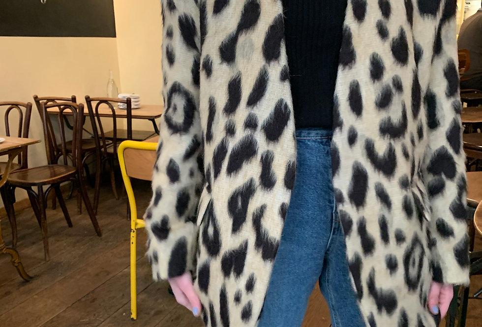 Leopard Collarless Jacket