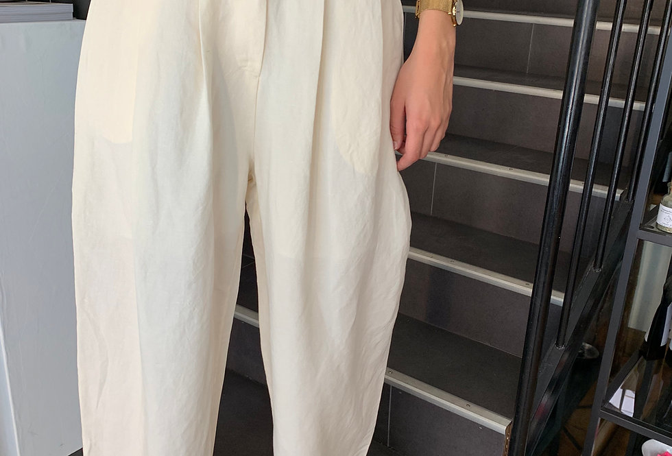 Linen Pleat Wide Trousers