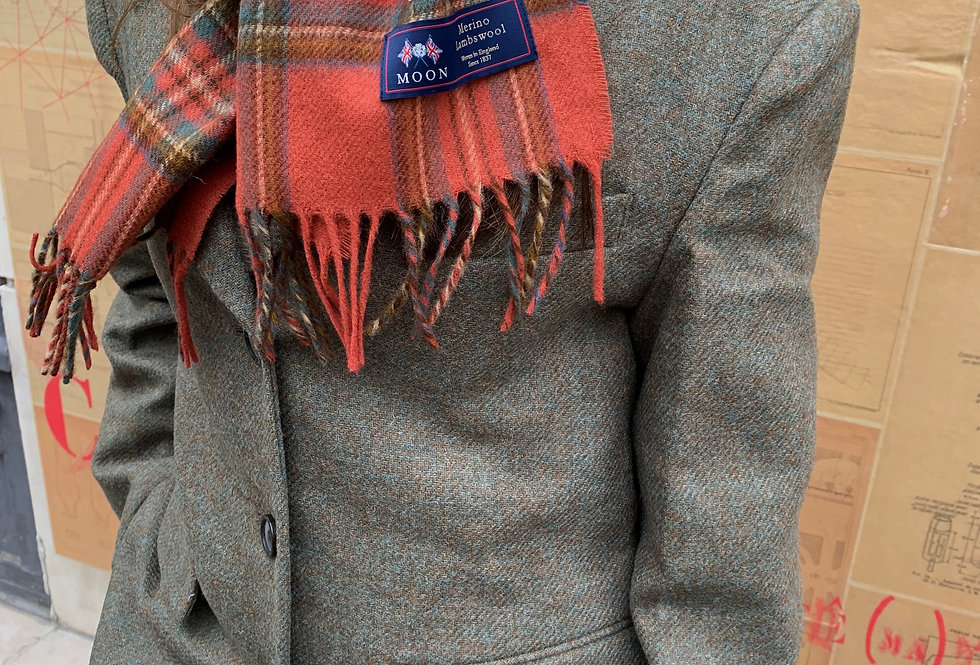 Red Wool Fringed Scarf