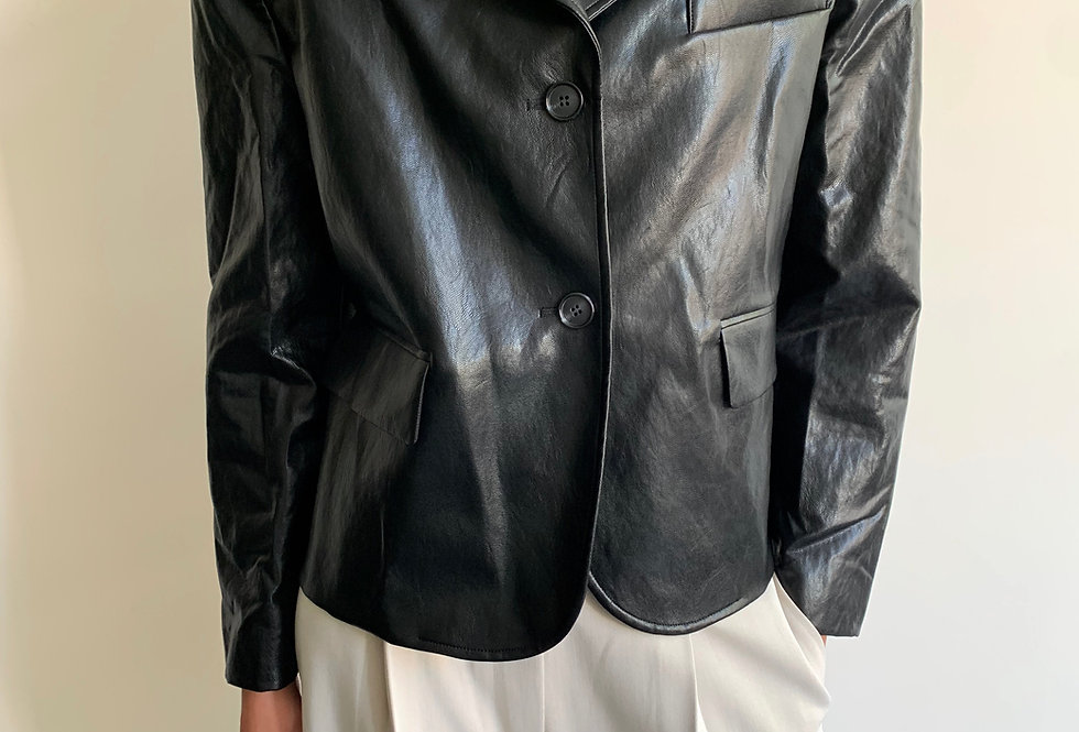 Short Faux Leather Blazer