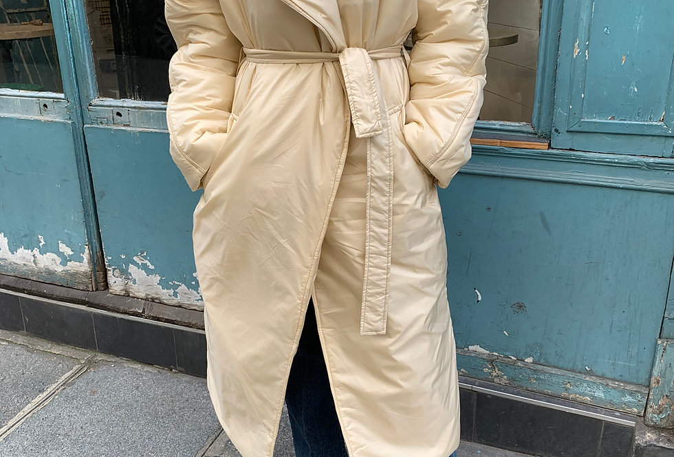 Belted Padded Coat (2colors)