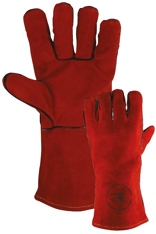 High Quality Red Leather Welding Gauntlet