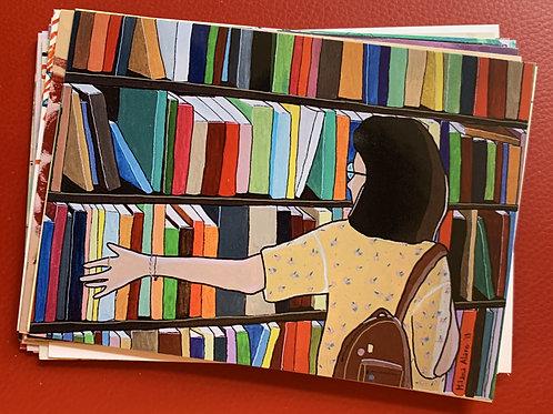 postcard, the bookstore