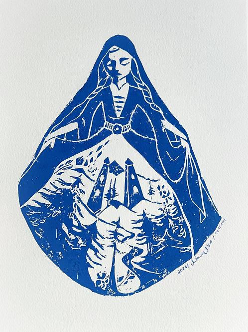 mother caucasus, original linoleum print