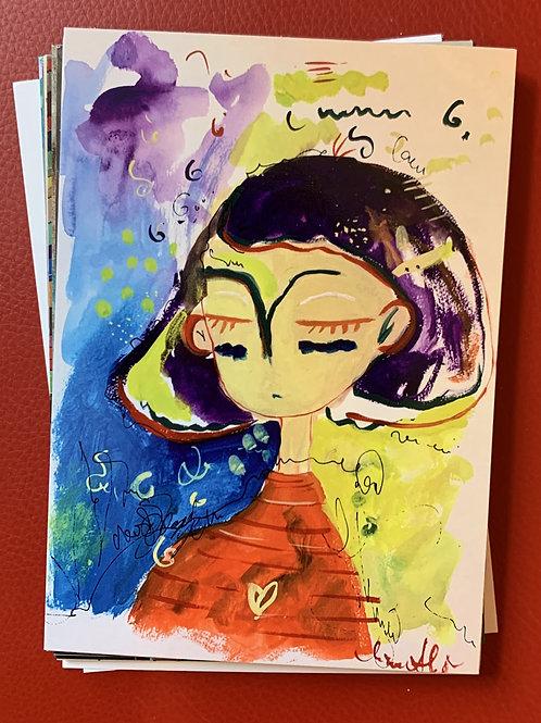 postcard, purple
