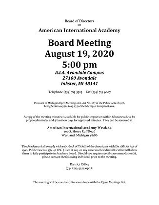 AIA Board Meeting Notice August 19, 2020