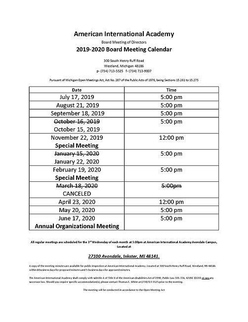 Updated Meeting Date Board Calendar 2019