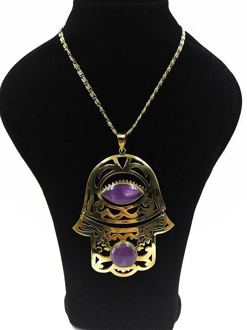 Large Hinged Hamza Hand necklace