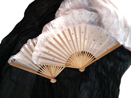 FAN VEILS BLACK AND WHITE 1.5m