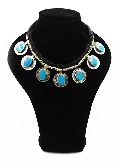 Reversible turquoise coin necklace BEST SELLER