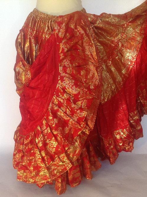 """Varanasi 25 yard Skirt - red and gold 38"""" long"""