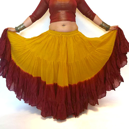 "25 YARD TWO TONE SKIRT - YELLOW AND RUSSET LENGTH 36"" OR 40"""