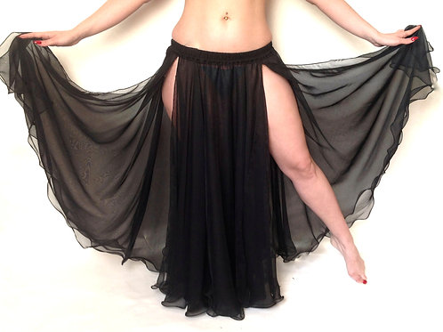 CHIFFON SKIRT DOUBLE LAYER, DOUBLE SPLIT - Black