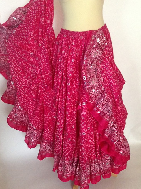 "Bright Pink Glitter 25 yard Skirt - Length 38"""