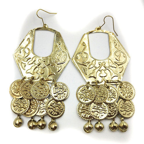 Traditional Hex Coin Earrings soft gold tone