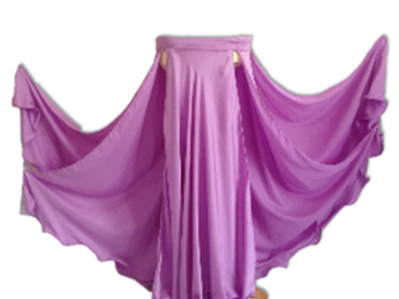 SATIN SKIRT DOUBLE LAYER, DOUBLE SPLIT - LILAC
