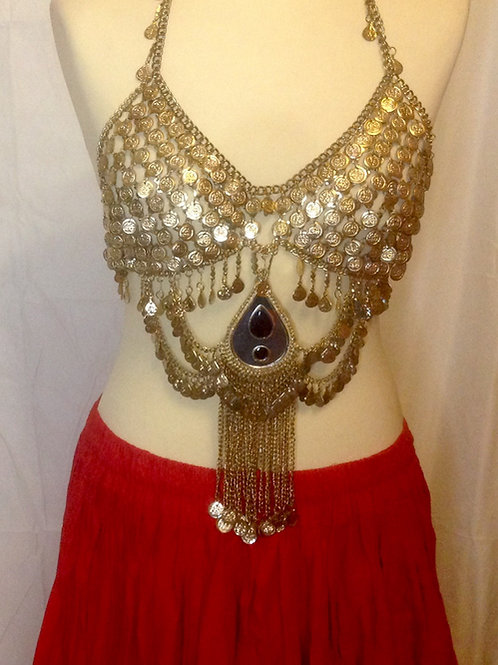 Golden All Coin Bra with central pendant