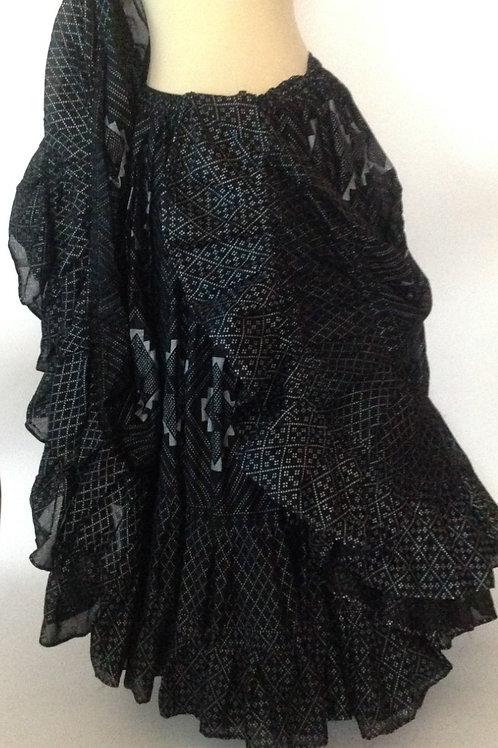 "Block Printed in Silvery Grey Skirt - Length 38"""