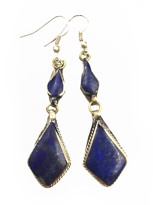 AFGHAN LAPIS EARRINGS - DIAMOND DROP