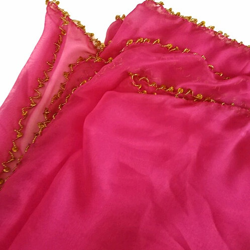 Chiffon Beaded Rectangle Veil - Cerise /Gold