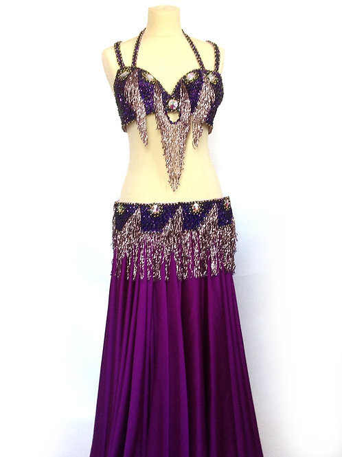 Oriental Bra and Belt Set Purple