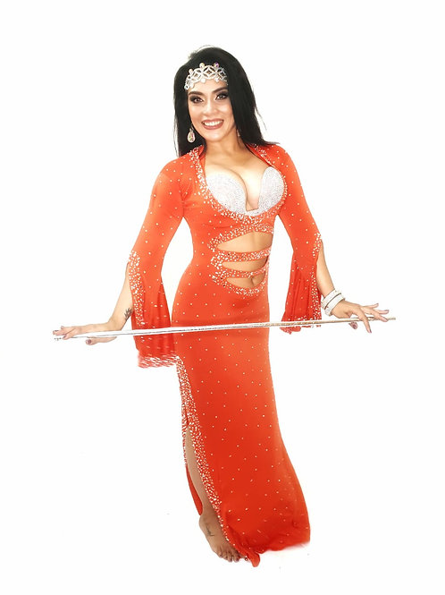 Orange cut dress