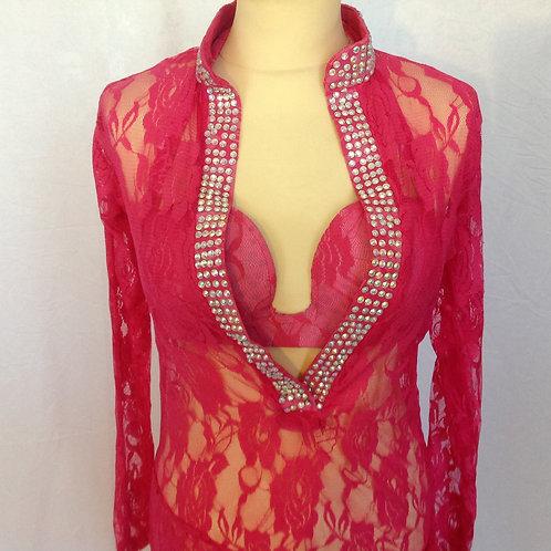 Lace Dress & Bra - Pink UK12