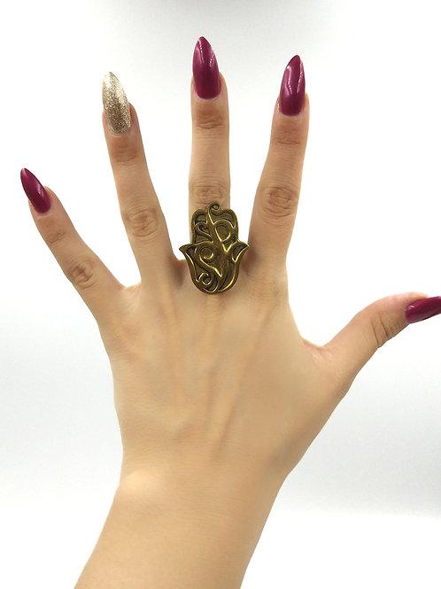 Gold Large Hamza Ring