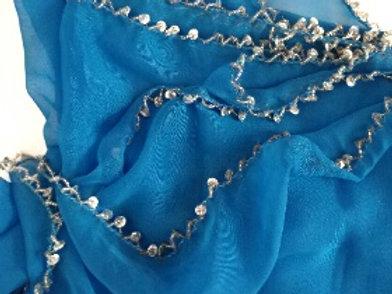 Chiffon Beaded Half Moon Shimmer Veil - Blue /Silver