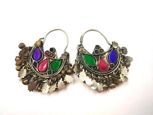 Kuchi Earrings pink green blue/purple