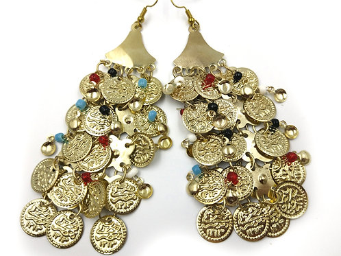 Goddess Gold Coin Dangle Earrings
