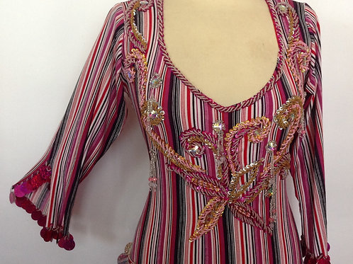 "Beaded Dress- Red Tone Stripes  33"" Chest"