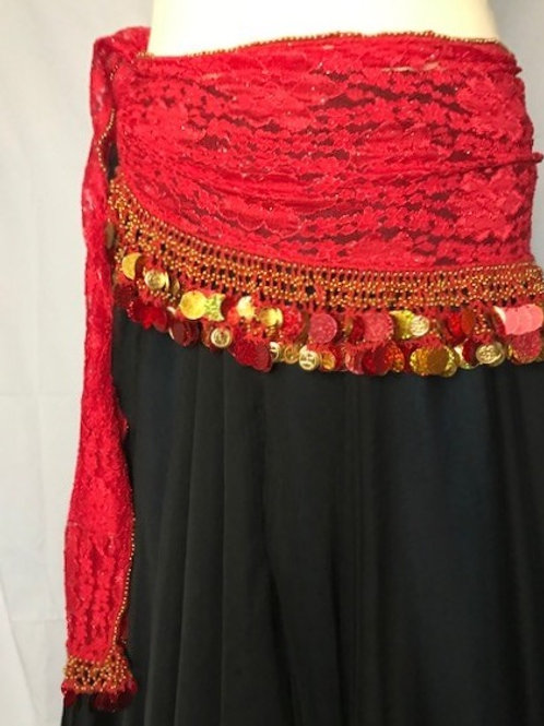Red Lace Beltwith gold coins