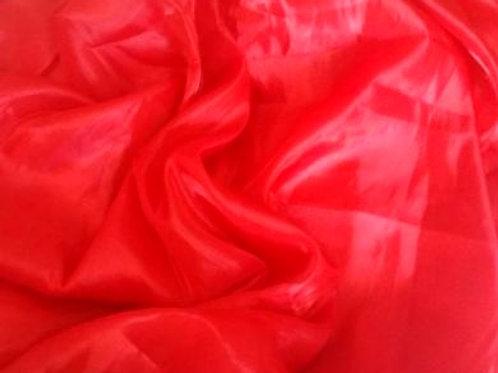 Shimmer Organza Half Moon Veil - red