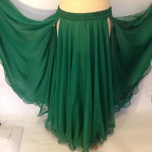 CHIFFON SKIRT DOUBLE LAYER, DOUBLE SPLIT - emerald