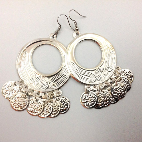 Disc and coin silver tone earrings