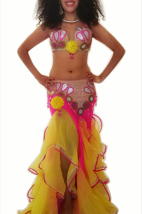 Candy Yellow and Pink Bellydance Costume