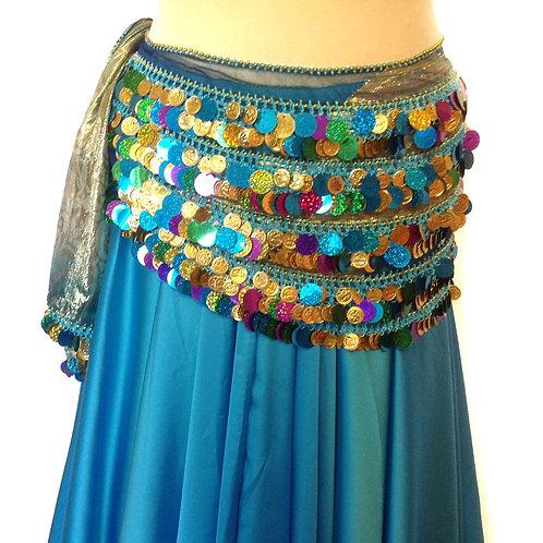Havva Metal Thread Rectangle Belt - Blue