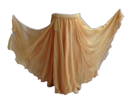 CHIFFON SKIRT DOUBLE LAYER DOUBLE SPLIT  - OLD GOLD